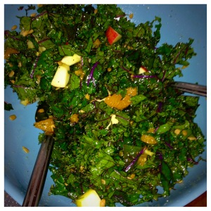 Kale Salad with Apples and Oranges